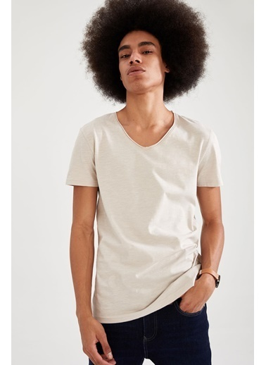 DeFacto Slim Fit V Yaka Basic T-shirt Bej